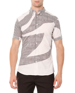 Kabuki-Print & Plaid Short-Sleeve Shirt, Black/White