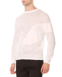 Kabuki Perforated Sweater, White