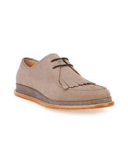Novello Suede Kiltie Oxford with Karung Midsole, Gray