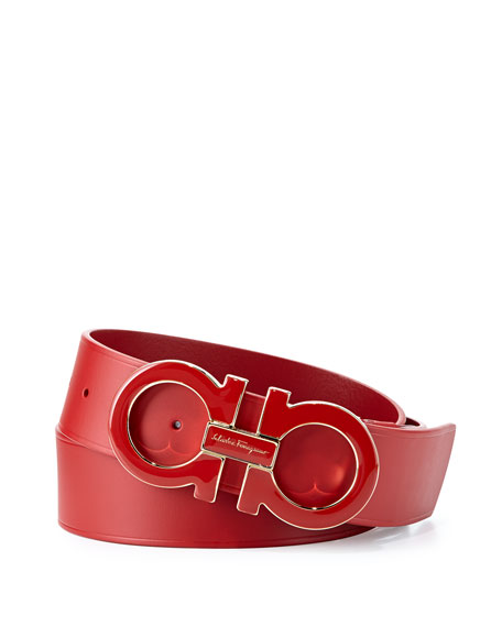 Salvatore Ferragamo Large Enamel Gancini Buckle Belt, Red