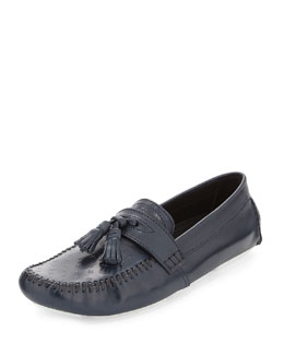 Star-Embossed Tassel Loafer, Navy