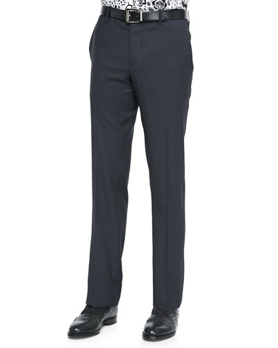 Satin-Stripe Wool Tuxedo Trousers