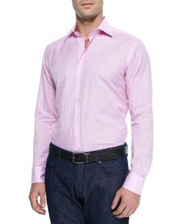 Linen-Blend Micro-Plaid Sport Shirt