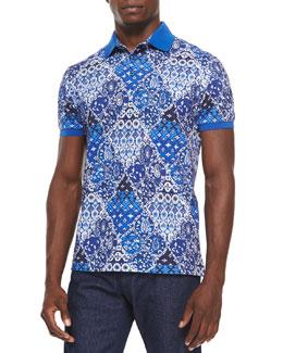 Paisley Short-Sleeve Pique Polo, Blue