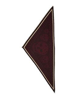 Men's Woven Skull-Print Triangle Scarf, Bordeaux-Black