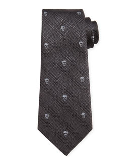 Prince of Wales Skull-Print Silk Tie, Multicolor