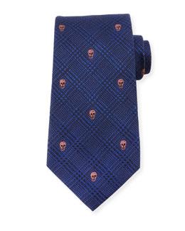 Prince of Wales Skull-Print Silk Tie, Blue