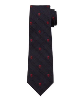 Prince of Wales Skull-Print Silk Tie, Red/Blue