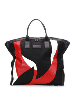 Men's Large Combo De-Manta Tote Bag, Black/White/Red