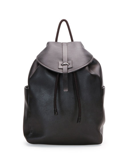 Stud-Skull Leather Backpack, Black