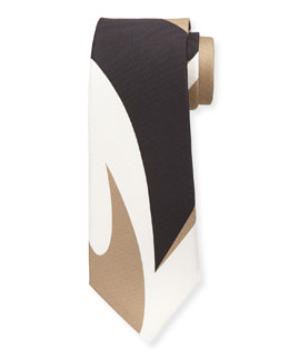 Abstract-Print Silk Tie, Black/Multi
