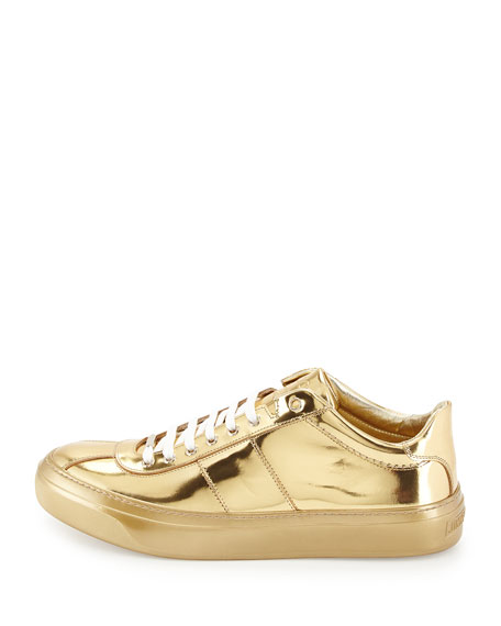 Portman Men's Mirrored Low-Top Sneaker, Gold
