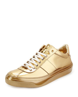Portman Men's Mirrored Low-Top Sneaker, Gold