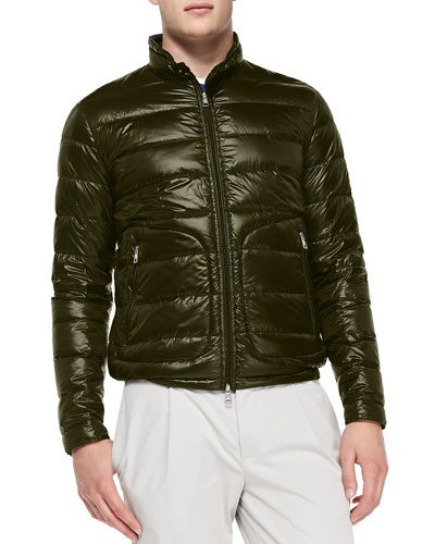 Acorus Puffer Moto Jacket, Olive