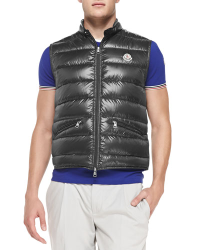 Gui Quilted Puffer Vest, Graphite
