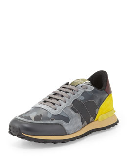 Rockstud Leather Trainer Sneaker, Blue/Gray/Yellow