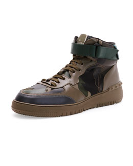 Rockstud Camo High-Top Sneaker, Army Green