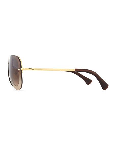 bd1f63648 Ray-Ban Semi-Rimless Aviator Sunglasses, Gold/Brown