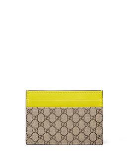 Micro GG Supreme Canvas Money Clip, Beige/Yellow