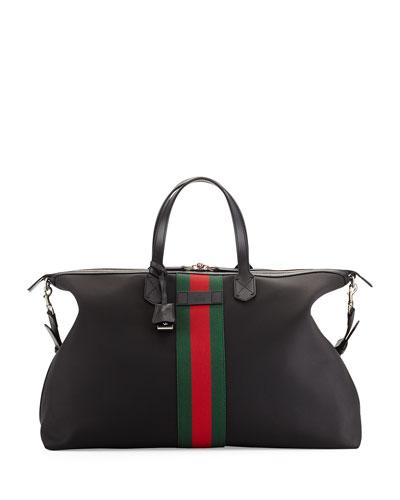 Techno Canvas Duffle Bag, Black