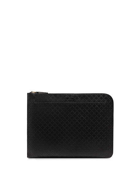 Bright Diamante Leather Portfolio, Black