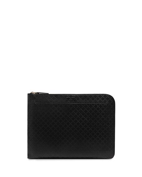 Bright Diamante Leather Portfolio, Black