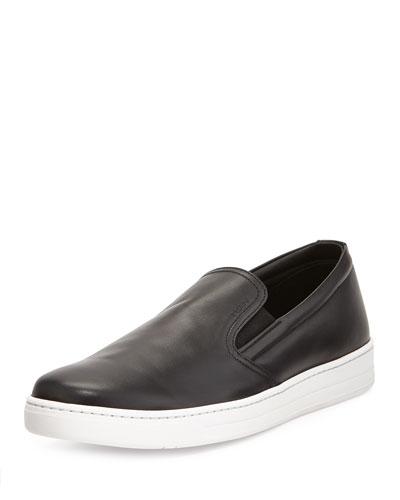 Leather Slip-On Sneaker, Black