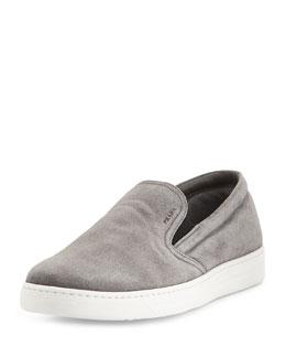 Leather Slip-On Sneaker, Gray