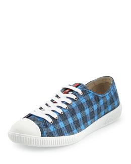 Cap-Toe Low-Top Plaid Sneaker, Blue