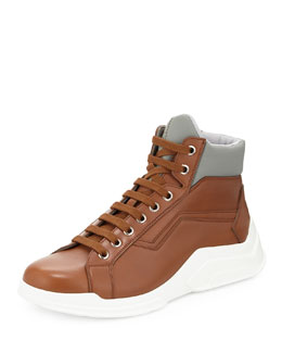 Leather Show High-Top Sneaker, Brown