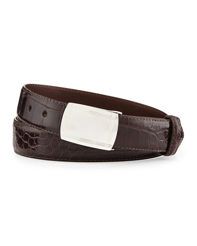 Glazed Alligator Belt with Plaque Buckle, Chocolate (Made to Order)
