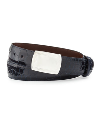 Glazed Alligator Belt with Plaque Buckle, Navy (Made to Order)