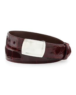 Glazed Alligator Belt with Plaque Buckle, Burgundy (Made to Order)