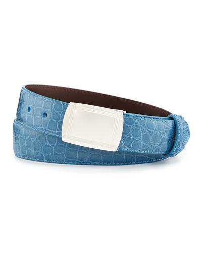 Glazed Alligator Belt with Plaque Buckle, Sky Blue (Made to Order)