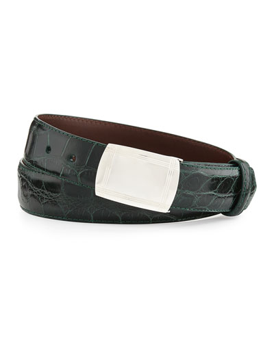 Glazed Alligator Belt with Plaque Buckle, Forest Green (Made to Order)