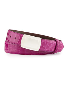 Glazed Alligator Belt with Plaque Buckle, Magenta (Made to Order)