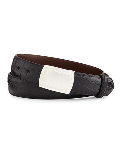 Matte Alligator Belt with Plaque Buckle, Black (Made to Order)