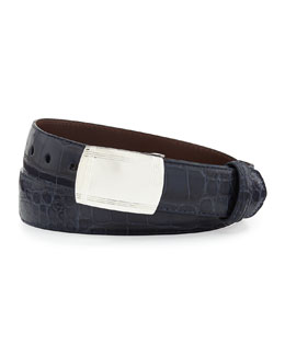 Matte Alligator Belt with Plaque Buckle, Navy (Made to Order)