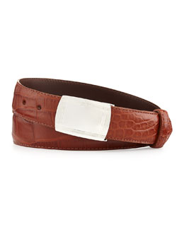 Matte Alligator Belt with Plaque Buckle, Cognac (Made to Order)