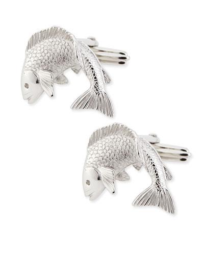 Rhodium-Plated Fish Cuff Links