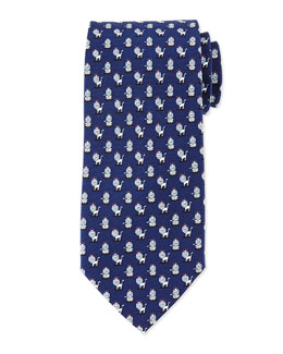 Lion-Print Woven Tie, Navy