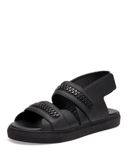 Leather Zip-Detail Skate Sandal
