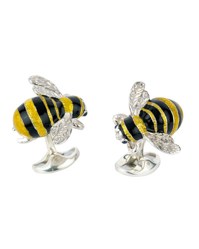 Sterling Silver Bumble Bee Cuff Links