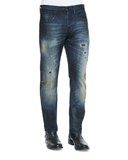 Destroyed Slim Faded Jeans, Indigo