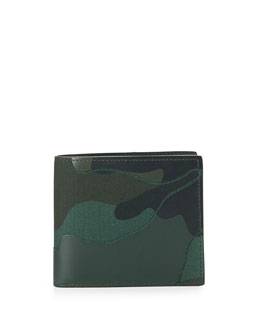 Camo Leather Bi-Fold Wallet, Green