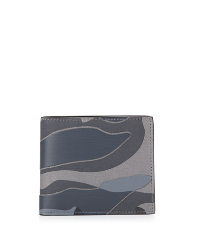 Camo Leather Bi-Fold Wallet, Stone