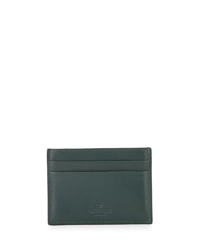 Camo Leather Card Holder, Green
