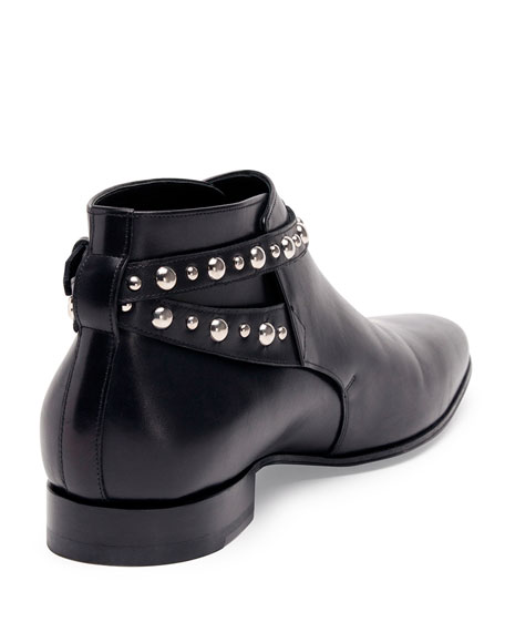 Studded-Strap Leather Ankle Boot, Black