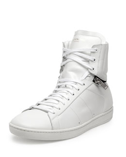 Leather Zipper-Detail Sneaker, White