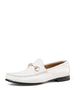 Men's Crocodile Horsebit Loafer, White